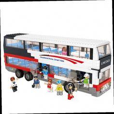 49.59$  Watch now - http://aliiq0.worldwells.pw/go.php?t=32674519445 - Sluban 741pcs City Bus Series Double Tour Bus Building Blocks Minifigure Bricks Children's Toy Kids Gift  Compatible With Legoe 49.59$