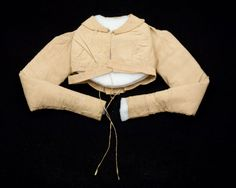 1810-1820, Spencer, Yellow-brown cotton (Holland) Unlined. Full details in museum's description.cross reference - Nancy Bradfield 'Costume in Detail' p108, B131