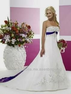 red wedding dresses Blue Empire Waist Embroidery White and Red