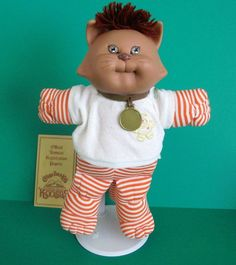 Cabbage Patch Koosas Pet Cat Doll 1985 Coleco Orange White Stripes With Papers #Coleco #DollswithClothingAccessories