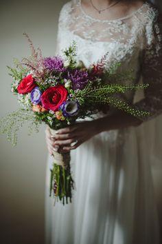 Bright wildflower rustic bridal bouquet // Home Garden Solemnisation Where the Bride Wore Her Mother's Wedding Dress