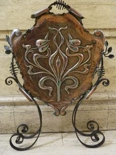Arts  Crafts wrought iron and copper Firescreen