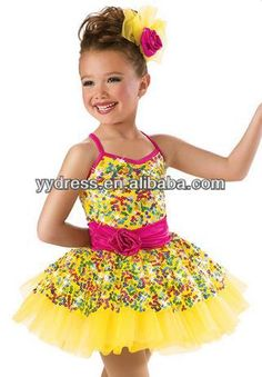 Recital Dress Stage Costume  Rainbow sequin mesh overlays  Spandex bodice Fluffy tricot skirt  A rosette adorns the waist