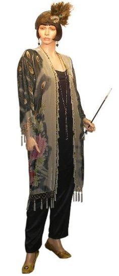 1920s women's pants   1920's Velvet Peacock Robe