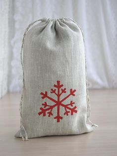 Items similar to Snowflake drawstring pouch with lining Natural linen storage bag Christmas gift bag Red Beige cloth sack 10 x 6 on Etsy Shoe Storage Basket, Closet Shoe Storage, Wooden Storage Boxes, Linen Storage, Nursery Storage, Kids Storage, Food Storage, Christmas Gift Bags, Etsy Christmas