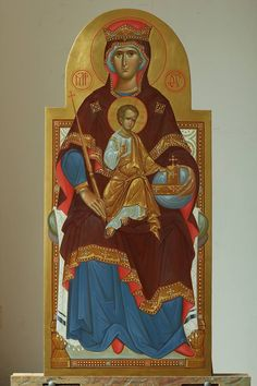 The queen of heaven and earth written by zoran zivkovic Religious Icons, Religious Images, Religious Art, Byzantine Icons, Byzantine Art, Anima Christi, Church Icon, Images Of Mary, Religion Catolica