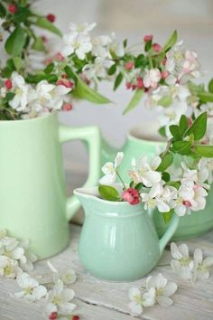 Shades Of Green, Pink And Green, Easter Colors, Ikebana, Floral Arrangements, Cherry Blossoms, Vases, Beautiful Bouquets, Romantic Flowers