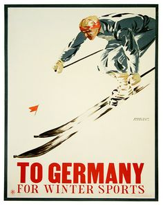 Ski Retro Poster Travel Art Germany Home Decor by Blivingstons