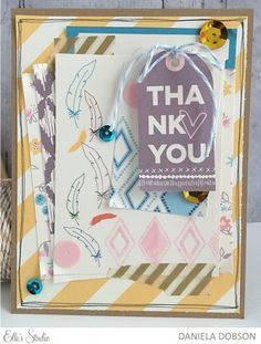 ~ thank you ~ card by Daniela Dobson using the Elle's Studio exclusive October 2015 kit