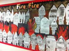 Great Fire of London display Classroom Display Boards, Classroom Displays, Classroom Ideas, The Fire Of London, Art School, School Stuff, School Ideas, Art Projects, Projects To Try