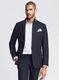 Modern Slim Navy Linen Suit Jacket. Banana Republic