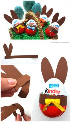Anleitung Osterhasenohren für Ü-Eier basteln autour du tissu déco enfant paques bébé déco mariage diy et crochet Easter Bunny Ears, Easter Eggs, Easter Table, Bunnies, Scavenger Hunt Birthday, Scavenger Hunts, Easter Presents, Boyfriend Crafts, Diy Gifts For Kids