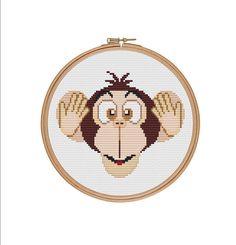 Three wise monkeys Hear no evil Monkey cross от StitcheryStitch