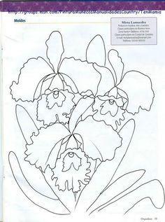Risco, orquídea, flor, flores, artesanato, pintura de tecido, modelo.