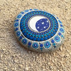 RESERVED Crescent Moon and Stars Shades of Blue Dot by MKHArts