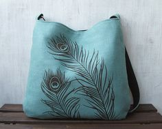 SALE - 10% OFF - Hemp Messenger Bag / Tote Bag with Peacock Feathers - Turquoise Blue on Etsy, $58.50