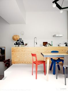 Big-Game 'Link' and 'Bold' chairs, François Azambourg 'Petit Gigue' chair and 'Le Belle et le Clochard' table all feature in this vibrant kitchen and dining space. On a benchtop by Crasset is Ineke Hans' Sugarcandy Mountain sculpture. From 'Bright Future', a story on page 120 ofVogue LivingMay/June 2013. Photograph by Birgitta Wolfgang Drejer.