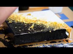 Black, White & Gold with Gold Foil Flakes - Acrylic Fluid Painting Technique Pour - YouTube
