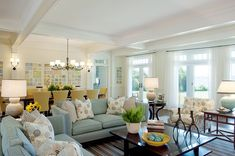 Wow this is exactly the direction Im going in for my living/dining room- soft blues, bright whites and gold/yellow. Inspired by a summer palace I saw in Russia years ago - A Interior Design Coastal Living Rooms, Home Living Room, Living Room Decor, Living Spaces, Living Area, House Of Turquoise, Turquoise Room, Turquoise Kitchen, Style At Home