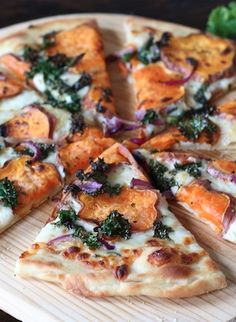 Sweet Potato Kale Pizza Recipe on twopeasandtheirpod.com Our favorite fall pizza!