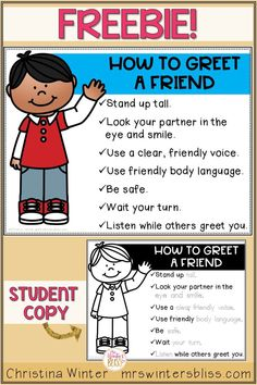 Use this free printable to teach students how to greet a friend and then set up a morning greeting routine! Morning greeting choices will help build classroom community with your elementary students. Children can choose a morning greeting activity at the door before entering the classroom or make a choice while greeting classmates during morning meeting. Included are posters, and printables to make different classroom signs. #morninggreetingchoices #classroomcommunity #morningmeeting