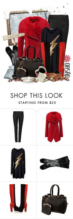 """To The North Pole With Oasap"" by keti-lady ❤ liked on Polyvore featuring Timorous Beasties, AllSaints, leather pants, long gloves, 2012, black, red, knee high boots, handbags and shirt"