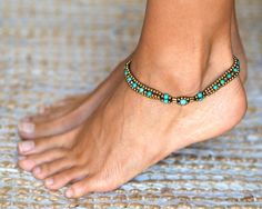 Anklet  // Indian Anklet // Ankle Bracelet // Minimal Turquoise  Anklet // Beach Anklet // Bells Anklet // Hippie Anklets
