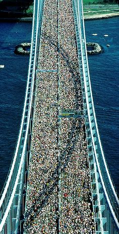 The beginning of the NYC Marathon on the Verrazano Bridge. That's a lot of peeps running in the same direction!