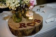 initial wood centerpiece