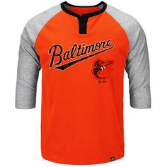 Baltimore Orioles Majestic Big & Tall Force Play Henley Raglan 3/4-Sleeve T-Shirt - Orange - $47.99