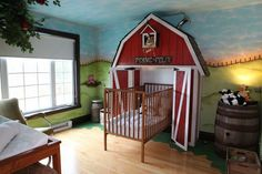 Green Farm Murals in Kids Bedroom
