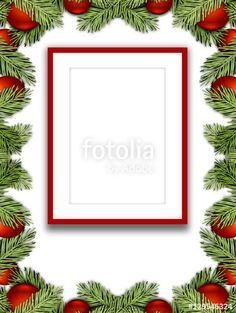 Blank red picture frame on white background enclosed by red Christmas ornaments and leaves