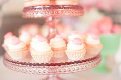 Cupcake with macaron on top - Chriselle Lim's Bridal shower at London Hotel