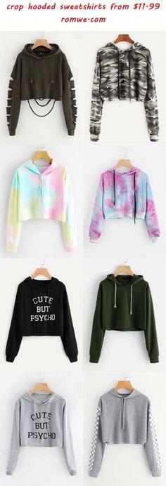 Cropped hooded sweatshirt - hooded crop sweatshirts 2018 romwe com Girls Fashion Clothes, Teen Fashion Outfits, Cute Fashion, Outfits For Teens, Girl Fashion, 2000s Fashion, Fashion Today, Petite Fashion, Ladies Fashion