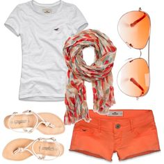 #summer #outfits / White Tee + Orange Shorts