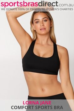 The Comfort Sports Bra by Lorna Jane will soon be your go-to for everything from workouts to weekends.  The racer-back design allows for a wide range of movements while the wider straps offer a supportive fit. The rounded neckline offers extra coverage and 4-way stretch for easy movements.  This high impact, wirefree, padded black sports bra features a racer back and provides compression support.  #blacksportsbras #blackbra #bestblacksportsbras #blacksportscroptop #plainblacksportsbra