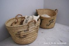 Monogramed Baskets - http://sur1rdebrocante.bigcartel.com/