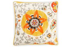 How gorgeous are the saffron colors on this outdoor pillow?