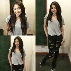 Look who we have here at the studio! Nadine Lustre Ootd, Nadine Lustre Fashion, Nadine Lustre Outfits, Simple Outfits, Casual Outfits, Fashion Outfits, Simple Ootd, Celebrity Outfits, Celebrity Style
