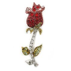 Small Red Green Austrian Crystal Rose Brooch In Rhodium Plating  43mm L *** You can get additional details at the image link.