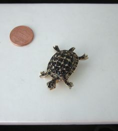 Hattie Carnegie TURTLE TORTOISE Pin BROOCH Black Stone Rhinestones by jewelryannie on Etsy