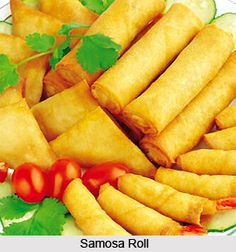 Samosa Roll can be served as an evening snack accompanied with green chutney and tea. For the recipe visit the page. #snacks #food #vegetarianrecipes