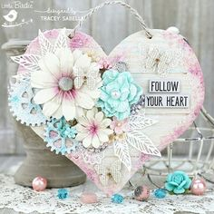 Garden of Grace: Shabby Mixed Media Floral Wooden Heart for Little Birdie Crafts with Photo Tutorial Martha Stewart Crafts, Little Birdie, Valentine Heart, Valentines, Heart Decorations, Wooden Hearts, Photo Tutorial, Flower Crafts, Anniversary Cards