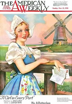 """1938 """"The American Weekly"""" magazine - A Girl In Every Port - Henry Clive"""