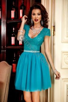 Rochie scurta dantela rosie si voal bust Rn 1148 Rochie baby-doll dantela turquoise si tul Rn 963
