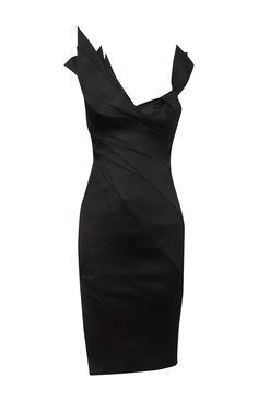 Karen Millen Folded Cocktail Dress Black ,fashion  Karen Millen Solid Color Dresses outlet