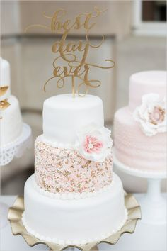 best day ever topped wedding cake @weddingchicks