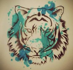 Tiger drawing Drawing Sketches, Drawing Stuff, Drawings, Tiger Drawing, Mural Painting, Paintings, Longboards, Illustrations And Posters, Pictures To Draw