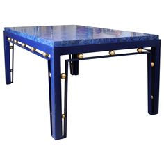 Beautiful Foyer Table with Lapis Lazuli Veneer Stone Table Top Desk / Writing Table – Foyer Veneer Stone Top French Lapis Lazuli, Iron Round Foyer Table, Modern Dining Room Tables, Dining Rooms, Lapis Lazuli, Table Tops For Sale, Stone Table Top, Library Table, Best Home Theater, Foyer Decorating