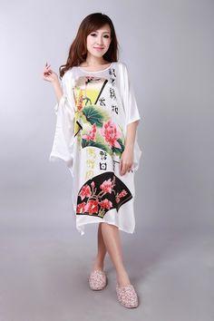 832c81120b Charming Chinese Silk Women s Kimono Robe Gown bathrobe White plus size